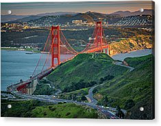 The Golden Gate At Sunset Acrylic Print by Rick Berk