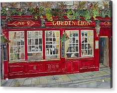 The Golden Lion Pub Acrylic Print by Victoria Heryet