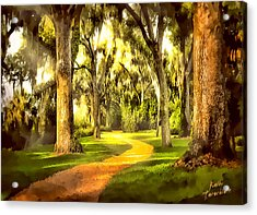 The Golden Road Acrylic Print by Kathy Tarochione
