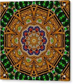 The Golden Sacred Mandala In Wood Acrylic Print by Pepita Selles