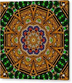 The Golden Sacred Mandala In Wood Acrylic Print