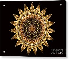 The Golden Sun Mandala Acrylic Print by Sandra Gallegos