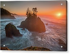 Acrylic Print featuring the photograph The Golden Sunset Of Oregon Coast by William Lee