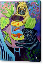 The Goldfish Bowl - Pug Acrylic Print by Lyn Cook
