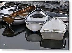 Skiffs On Placid Waters-coastal Maine Acrylic Print by Thomas Schoeller