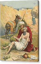 The Good Samaritan Acrylic Print by English School