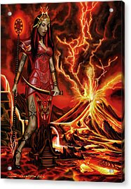 Acrylic Print featuring the painting The Goodess Pele Of Hawaii by James Christopher Hill