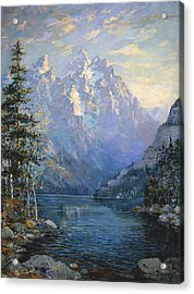 The Grand Tetons And Jenny Lake Acrylic Print by Lewis A Ramsey