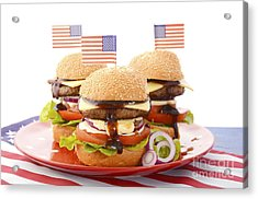 The Great Bbq Hamburger With Flags Acrylic Print by Milleflore Images