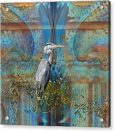 The Great Blue Heron In Abstract Acrylic Print