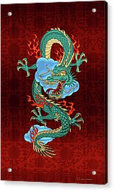 The Great Dragon Spirits - Turquoise Dragon On Red Silk Acrylic Print by Serge Averbukh