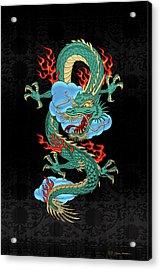 The Great Dragon Spirits - Turquoise Dragon On Black Silk Acrylic Print by Serge Averbukh