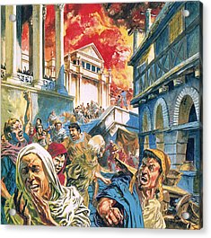 The Great Fire Of Rome Acrylic Print by English School