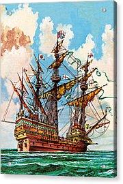 The Great Harry, Flagship Of King Henry Viii's Fleet Acrylic Print