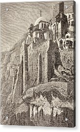 The Great Lavra Of St. Sabbas The Acrylic Print by Vintage Design Pics