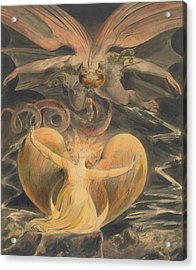 The Great Red Dragon And The Woman Clothed With The Sun Acrylic Print by William Blake