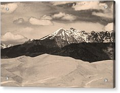 The Great Sand Dunes And Sangre De Cristo Mountains - Sepia Acrylic Print by James BO  Insogna