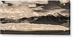 The Great Sand Dunes Panorama 2 Sepia Acrylic Print by James BO  Insogna