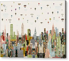 Acrylic Print featuring the painting The Great Wondrous Balloon Race by Bri B