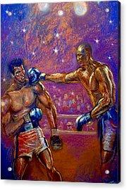 the Greatest  Muhammed Ali vs Jack Johnson Acrylic Print by Tommy  Winn