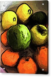 The Green And Gold Apples With The Orange Mandarins Acrylic Print
