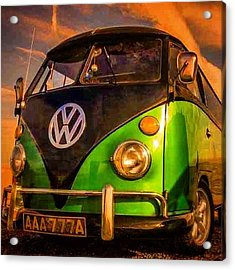 The Green And The Black #vw #camper Acrylic Print