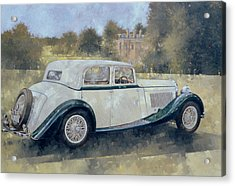 The Green And White Bentley At Althorp Acrylic Print by Peter Miller