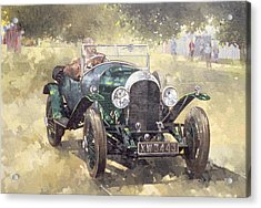 The Green Bentley At Althorp Acrylic Print by Peter Miller