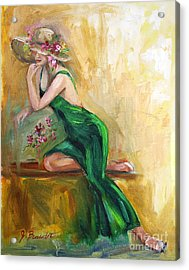 The Green Charmeuse  Acrylic Print by Jennifer Beaudet