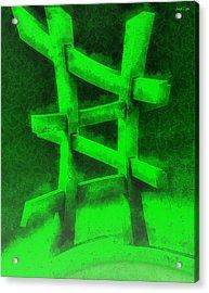 The Green Fence - Pa Acrylic Print by Leonardo Digenio