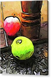 The Green Lime And The Apple With The Pepper Mill Acrylic Print