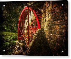 The Gristmill's Waterwheel Acrylic Print by Christine Annas