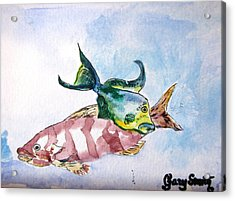 Acrylic Print featuring the painting The Grouper And Friend by Gary Smith