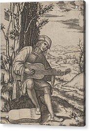 The Guitar Player Acrylic Print by Marcantonio Raimondi