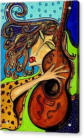 The Guitarist Acrylic Print by Yvonne Feavearyear