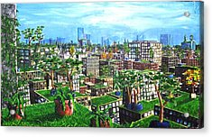 The Hanging Gardens. Acrylic Print by Samuel Miller