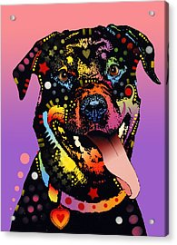 Acrylic Print featuring the painting The Happy Rottie by Dean Russo