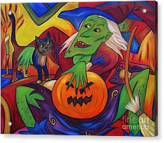 Acrylic Print featuring the painting The Happy Witch Cat And Pumpkin by Dianne  Connolly