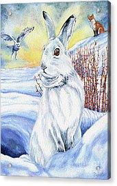 The Hare Fear Creativity And Rebirth Acrylic Print by Antony Galbraith