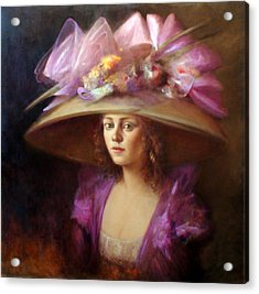 The Hat Acrylic Print by Loretta Fasan