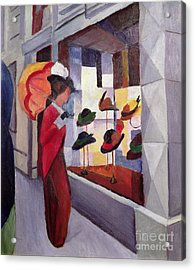 The Hat Shop Acrylic Print by August Macke