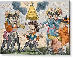 The Head Of The Great Nation In A Queer Situation Acrylic Print by George Cruikshank
