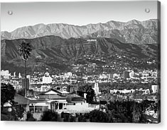 Acrylic Print featuring the photograph The Hollywood Hills Urban Landscape - Los Angeles California Bw by Gregory Ballos