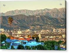 Acrylic Print featuring the photograph The Hollywood Hills Urban Landscape - Los Angeles California by Gregory Ballos