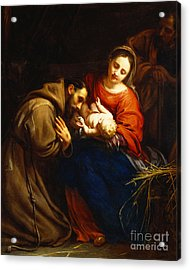 The Holy Family With Saint Francis Acrylic Print by Jacob van Oost
