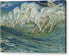 The Horses Of Neptune Acrylic Print by Walter Crane
