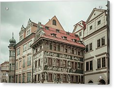 The House At The Minute With Graffiti At Old Town Square  Acrylic Print