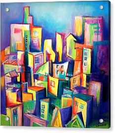 Acrylic Print featuring the painting The Houses by Kim Gauge