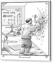 The Hulk Crushes A Man Against A Wall In A Yoga Acrylic Print