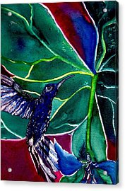 The Hummingbird And The Trillium Acrylic Print by Lil Taylor